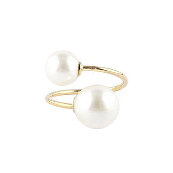 Double Pearl Adjustable Gold Ring
