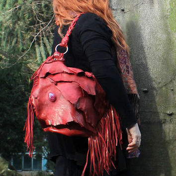 Hot paprika red leather raw distressed fringed bag fringe raw tote hobo tribal large elvish asymmetrical  leather bag artisan hobo handmade