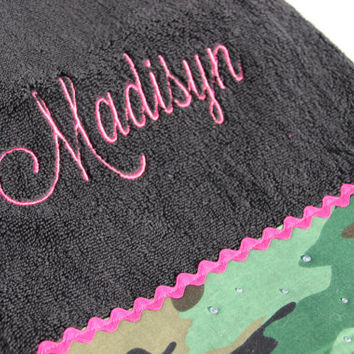 Personalized Camo Bath Towel, Camo, Hunter, Custom Camo Towel