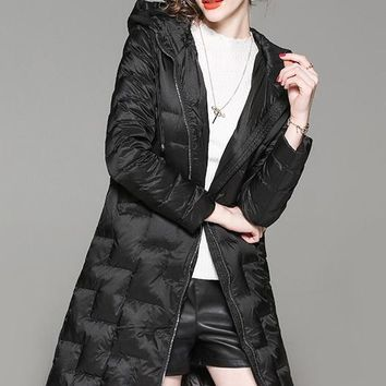 Quilted Down Coat W/ Hood