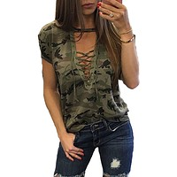 Ladies Short Sleeve Camouflage Loose Blouse Lace Up Shirts Tops