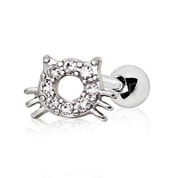 316L Stainless Steel Sparkling Kitty Cat Cartilage Earring