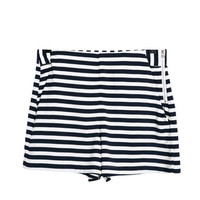 Summer Stripes Simple Design High Rise Zippers Pants Shorts [4918040964]