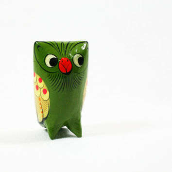 Vintage Hand Carved, Hand Painted Wood Owl Figurine