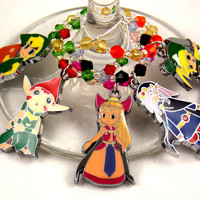 Legend of Zelda: Minish Cap inspired geeky wine glass charms set of 5 Anime video game charms handmade wine charms party wine charms