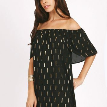 Borderline Printed Off-Shoulder Dress
