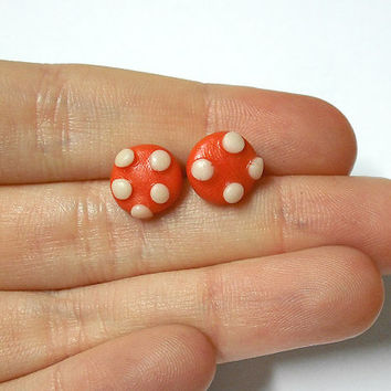 Earrings red mushroom pin hypoallergenic for sensitive ears handmade cold porcelain