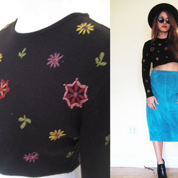 Vintage sweater cropped top embroidered black floral flower long sleeves