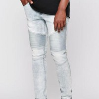 ONETOW PacSun Stacked Skinny Active Stretch Moto Acid Wash Indigo Jeans at PacSun.com