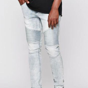 DCCKYB5 Stacked Skinny Active Stretch Moto Acid Wash Indigo Jeans