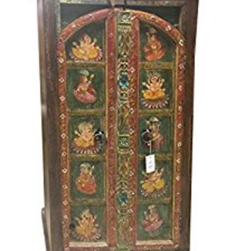 Antique Armoire Ganesha Hand Painted Bohemian Cabinet Hand carved Indian Decor