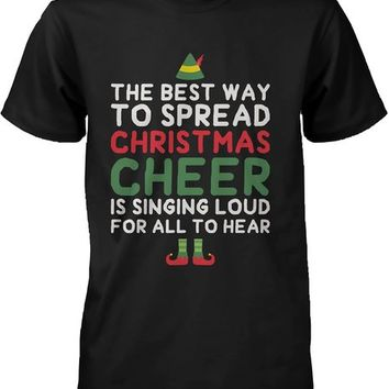 Men's Black Cotton T-Shirt - Best Way to Spread Christmas Cheer Graphic Tee