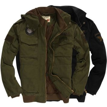 Trendy US ARMY 101 Airborne Civil Officer Men's Flight Jacket Green / Black Hooded Warm Cotton Winter Military Jacket US Size AT_94_13