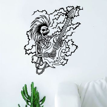 Rocker Skull Wall Decal Decor Art Sticker Vinyl Room Bedroom Teen Kids Music Rock Metal Guitar