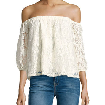 Ella Moss Lace Off-the-Shoulder 3/4-Sleeve Top, Natural