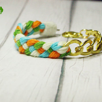 Multi color yarn braided Bracelet linking with gold chain - by Lynnlen
