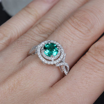 6.6mm Lab Emerald Engagement ring White gold,Diamond wedding band,14k,Round Cut Treated Emerald,Green Gemstone Promise Ring,Curved Floral