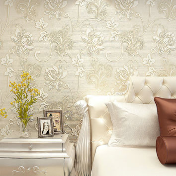 Luxury Italian Silk Fabrics Vintage 3D Floral Wall Paper Papel De Parede Light Color Flower Wallpapers For Bedroom Home Decor