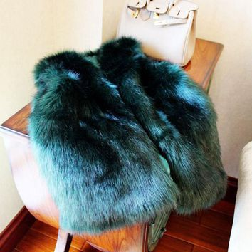 8 Colors New 2016 Autumn Fashion V-neck Faux Fur Vests Women Imitation Fox Fur Solid Faux Fur Sleeveless Jackets H105