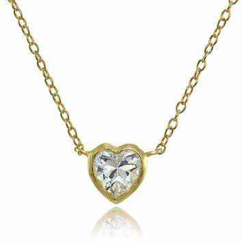 Bezel-Set Heart Cubic Zirconia Necklace in Gold Plated Sterling Silver