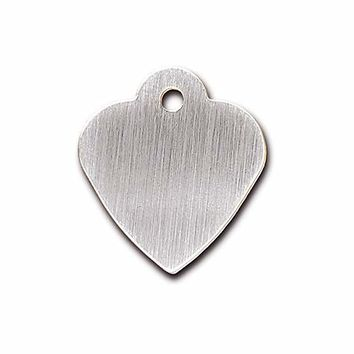 Quick-Tag Brushed Chrome Heart Personalized Engraved Pet ID Tag, Small | Petco