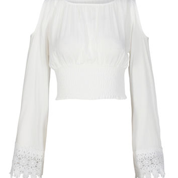 White Cold Shoulder Flared Sleeve Lace Trim Crop Top