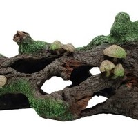 Marina Hollow Log with Moss Cover/Mushroom Betta Aquarium Decor