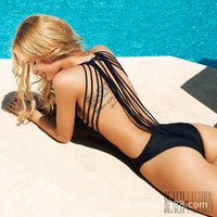 Sexy Strappy Swimsuit Padding Bathing Suit Backless Swimwear One Piece Swim suit cute swimwear