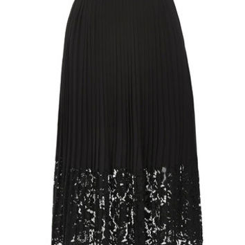 PLEATED LACE TRIM SKIRT - BLACK