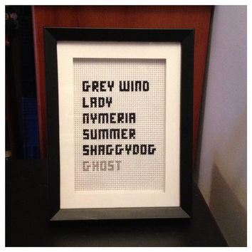 Game of Thrones Dire Wolves Stitch Picture Framed