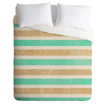 Allyson Johnson Glitter And Mint Duvet Cover