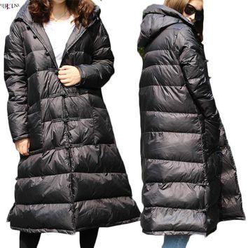 HIJKLNL 2017 New Women Down Jackets Winter Long Down Coats Thick Female Hooded Down Warm Down Parkas With Buckle Hiver PL171