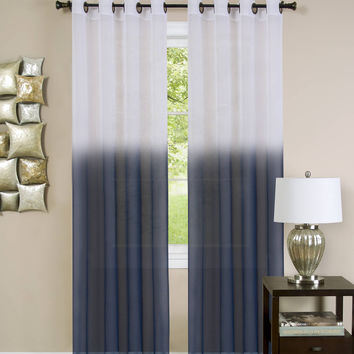 "Quintessence Set of 2 Ombre Sheer Window Curtain Panels (52"" x 84"") - Blue"