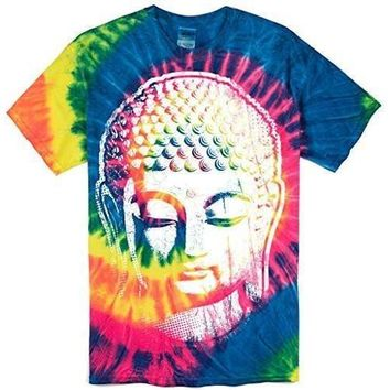 Yoga Clothing for You Mens Big Buddha Head Tie Dye Tee Shirt