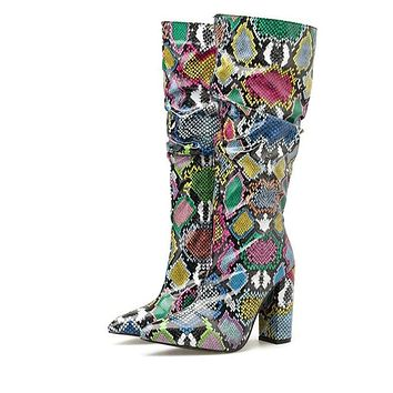 Snake Skin Thick Mid-calf Boot Distressed Pointed Toe Zip