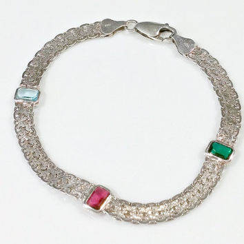 Sterling Silver 8 Inch Chain Bracelet 3 Colored Stones Ruby Red Emerald Green Aquamarine Blue Wide Flat Well Made Italy Silver Lobster Clasp