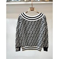 FENDI Autumn Winter Popular Women Sexy Off Shoulder Round Collar Double F Letter Print Long Sleeve Knit Sweater Pullover Top White I12820-1