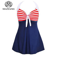 MiYang One Piece Swimsuit Plus Size Swimwear Women Bathing Suit Monokini Bodysuit Women Vintage Sailor Pin Up