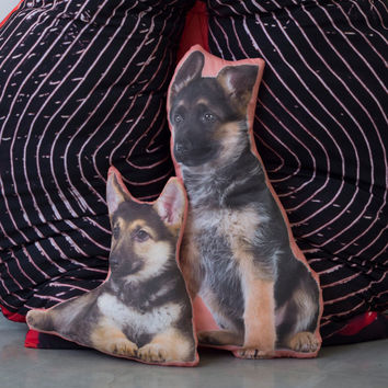 German Shepherd Shape Pillow PAIR -- Decorative Puppy Pillow -- Dog Pillow -- Life-size German Shepherd home decor -- Quirky dog lover gift