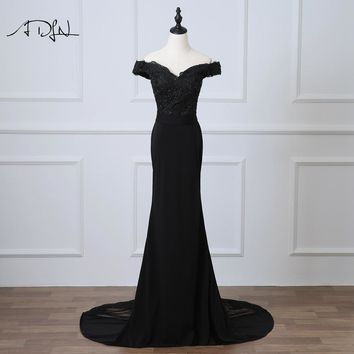 ADLN Black Mermaid Evening Dress Off-the-shoulder Abendkleider 2018 Long Party Prom Gown with Appliques