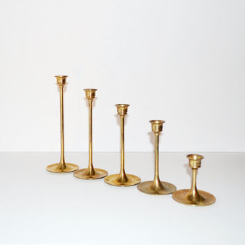 Vintage Brass Candlesticks Danish Modern Candle Holders Set of 5 Graduated Brass Candlesticks Christmas Decoration
