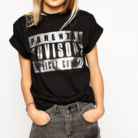 PARENTAL ADVISORY EXPLICIT CONTENT Graphic Print Black Tee