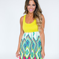 Lime Printed Tank Dress
