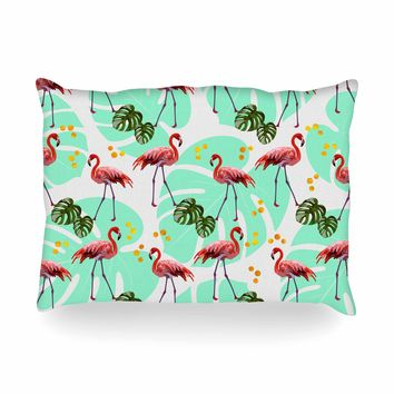 "Mmartabc ""Flamingos Pattern With Monster"" Green Pink Vector Oblong Pillow"
