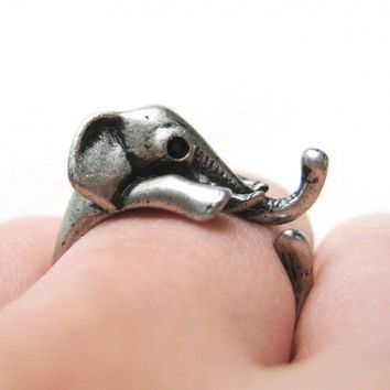 Miniature Elephant Ring in Silver Sizes 5 to 9 available | dotoly - Jewelry on ArtFire