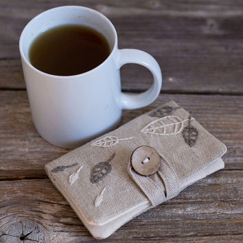 Linen and Cotton Tea Wallet with Hand Embroidered Leaves in Natural Grey and White, Tea Holder, Gift for Tea Lover