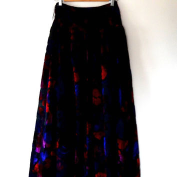 Velvet skirt / colourful / devore velvet / sapphire / scarlet / mauve / black skirt / lace / rose print / vintage / 80s / floral maxi skirt