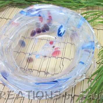 Hand Blown Glass Dish Bowl Vintage  by CREATIONSbySabine on Etsy