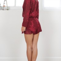 No Filter playsuit in wine lace Produced By SHOWPO