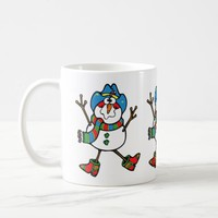 Western Christmas Cowboy Snowman With Hat Coffee Mug